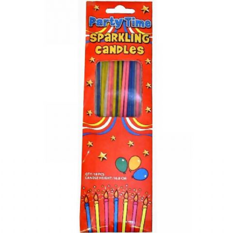 18 x Long Sparkling Candles For Birthday Cakes